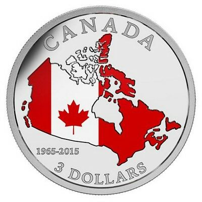 50th Anniversary of Canadian Flag - 2015 $3 Fine Silver Coin