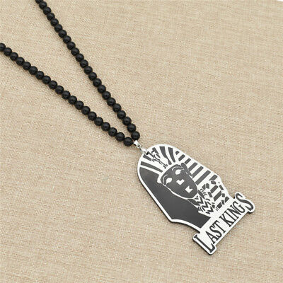 LAST KINGS Egyptian Pharaoh Necklace Pendant Black Beads Jewerly Antique 1pc
