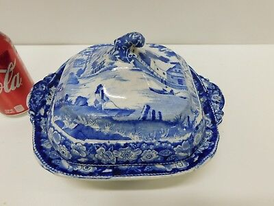 ANTIQUE Staffordshire Transferware Wild Rose Pearlware Covered Vegetable Tureen