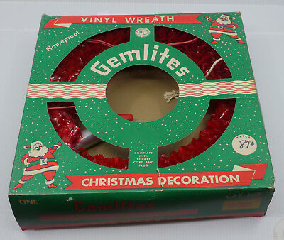 OLD GEMLITES VINYL CHRISTMAS WREATH DECORATION w WORKING LIGHT, ORIGINAL BOX