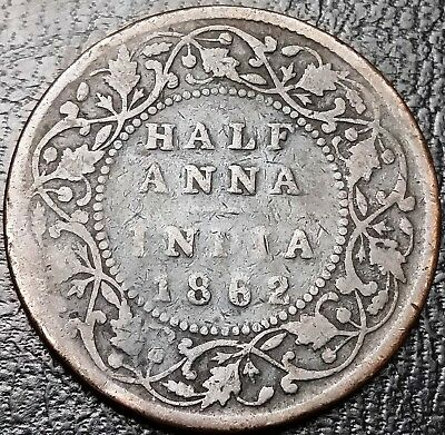 1862 India Half Anna Coin - Free Combined Shipping