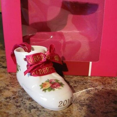 Royal Albert Porcelain OCR Unisex 2010 Baby's First Christmas Bootie Ornament