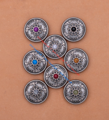 10x Silver Tone Tribal Sun Flower DIY Leather Craft Turquoise CONCHOS SCREW BACK