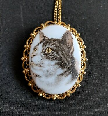 Vintage Porcelain Tabby Cat Cameo Brooch Pin Pendant Necklace It's a Beauty!
