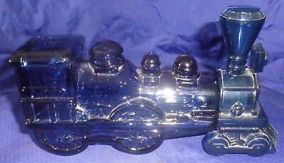 GL204 Vtg Avon Railway Train Engine Cobalt Blue Glass Bottle