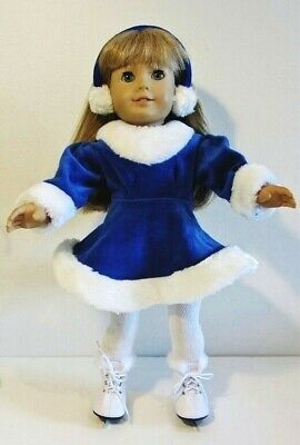 "Blue Ice Skating Outfit 18"" Doll Clothes fit American Girl SKATES EARMUFFS TGHTS"