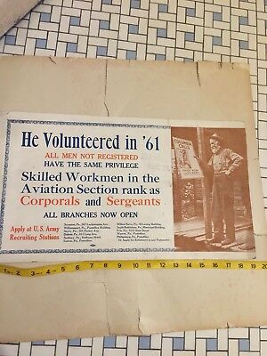 ORIGINAL WWI World War I Recruiting Poster Aviation Section US Army Old Vintage