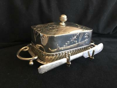 BARBOUR QUAD SILVER Victorian Butter/Sardine Dish ETCHED w GLASS inset EXCELLENT