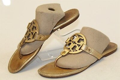 42d3d0192bf1d Tory Burch USED Womens 9 M Miller Leather T-Strap Flat Sandals Shoes  60008679 g