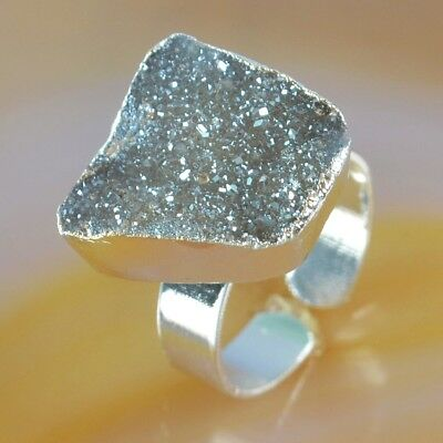 Size 7.5 Natural Agate Titanium Druzy Adjustable Ring Silver Plated H117640
