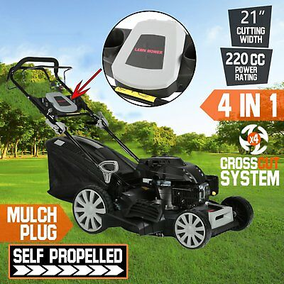 "21"" Lawn Mower Self Propelled 220cc 4 Stroke Lawnmower Petrol Grass AU STOCK"