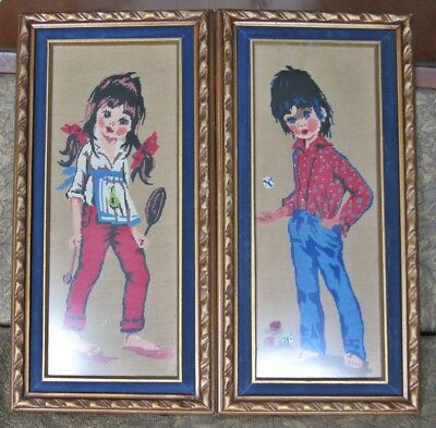 Pair of Framed Under Glass Vintage Tapestry Of Young People