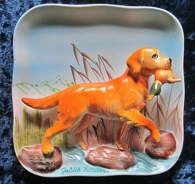 Vintage Porcelain 3D Golden Retriever With Duck Wall Plaque
