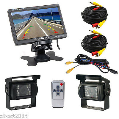 "7"" TFT LCD Rear view Monitor+Wireless IR waterproof Car Camera x 2 For Bus truck"