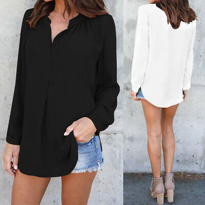 Women Long Sleeve Plus Size Top T Shirt Tee Baggy Loose Solid Basic Tunic Blouse