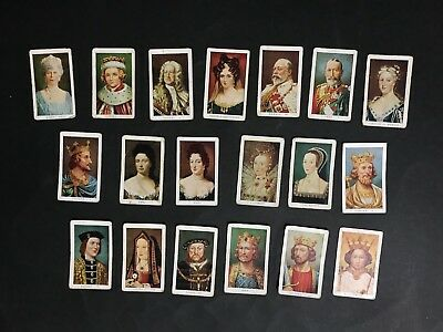 ALLENS TRADING CARD LOT OF 19 KINGS & QUEENS OF ENGLAND, FROM 1930's
