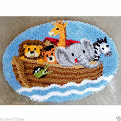 Noah's Ark Latch Hook Kit Rug Making Kit 69x55cm by Vervaco. Printed Canvas Type