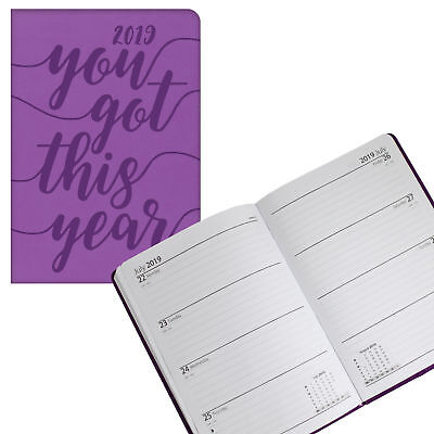 Tallon 2019 Embossed Slogan Cover A5 Week to View Diary 2158 - Purple