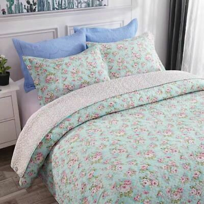 100% Cotton Reversible  Quilted Bedspread/Coverlet Queen Size  3pcs Set 7-7