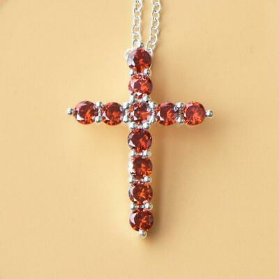 Genuine Fire Red Garnet Gemstone Solid Silver Cross Necklace Pendants With Chain