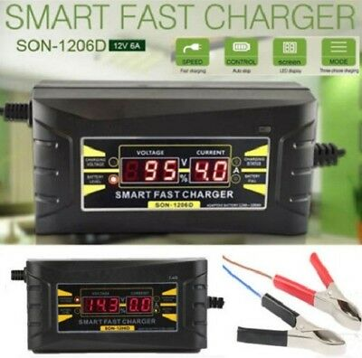 Full Automatic Smart Fast Battery Charger For Car/Motorcycle UK EU Plug 12V/6A