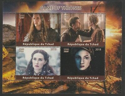 Chad 7640 - 2018 GAME OF THRONES perf sheet of 4 unmounted mint