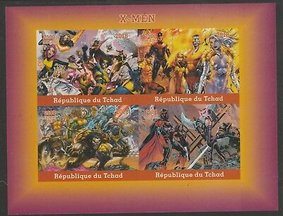 Chad 7643 - 2018 X-MEN imperf sheet of 4 unmounted mint
