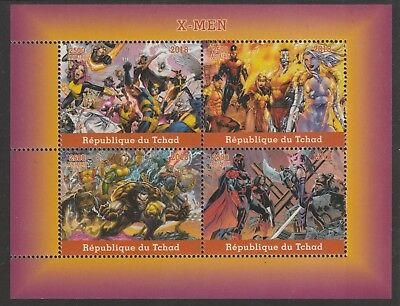 Chad 7642 - 2018 X-MEN perf sheet of 4 unmounted mint