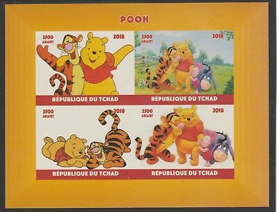 Chad 7645 - 2018 POOH BEAR  imperf sheet of 4 unmounted mint