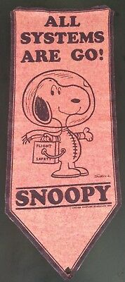 """Snoopy Peanuts """"All Systems Are Go"""" Large Felt Pennant Vintage 1969 See Desc"""