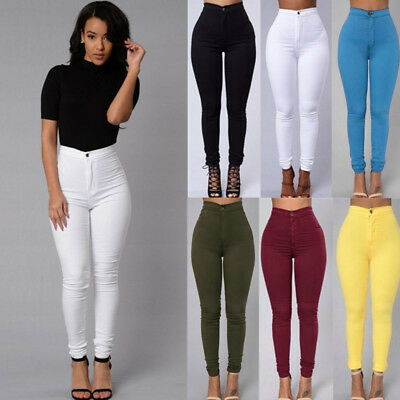 Women Pencil Stretch Casual Look Denim Skinny Pants High Waist Trousers 01