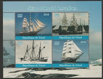 Chad 7650 - 2018 SHIPS of ROALD AMUNDSEN   perf sheet of 4 unmounted mint