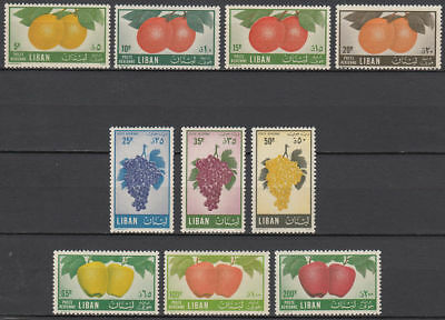 Libanon Lebanon 1955 ** Mi.559/68 Freimarken Definitives Obst Fruits