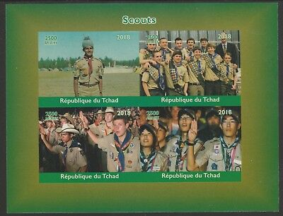 Chad 7659 - 2018 SCOUTS & SCOUTING   imperf sheet of 4 unmounted mint