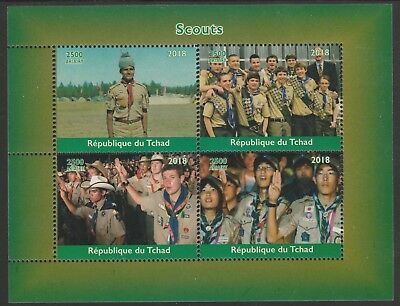 Chad 7658 - 2018 SCOUTS & SCOUTING  perf sheet of 4 unmounted mint