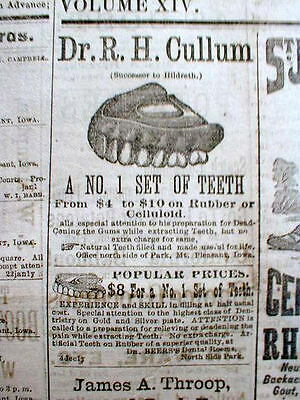 Rare original 1882 MOUNT PLEASANT Iowa newspaper w illustrated DENTIST AD Teeth