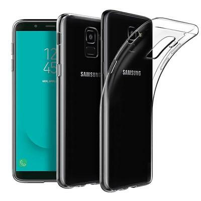 For Samsung Galaxy J6 2018 Clear Slim TPU Gel Case and Glass Screen Protector