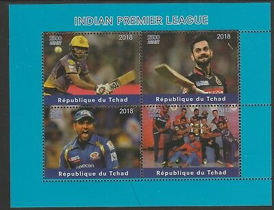 Chad 7660 - 2018 CRICKET  INDIAN PREMIER LEAGUE perf sheet of 4 unmounted mint