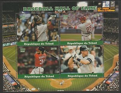 Chad 7664 - 2018  BASEBALL HALL OF FAME  perf sheet of 4 unmounted mint