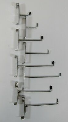 Retail Shop Accessory Grid Wall Hooks mesh Hook Arms Panel  Gridwalls Chrome