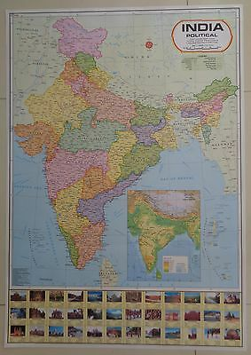India Laminated Map Poster Wall Chart Large 100 x 70cm Indian Map