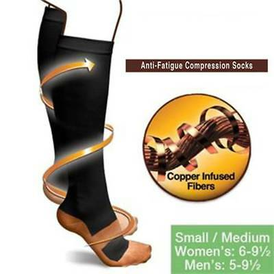 (2 Pairs) Socks 20-30mmHg Graduated Support Compression Mens Womens S-XXL Copper