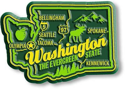 Washington the Evergreen State Premium Map Fridge Magnet