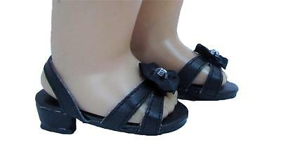 Doll Clothes Shoes Kitten Heel with Sparkle Black Fit 18 inch American Girl