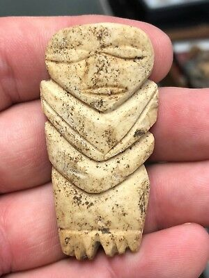 Rare Authentic Taino Bone Human Effigy Figure Pendant Idol Doll Pre-Columbian