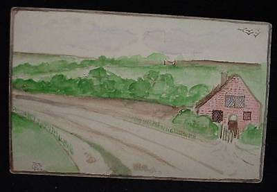 Vintage Original Signed Country Watercolor Painting on Postcard Undivided Back