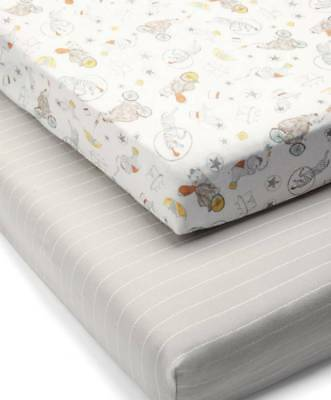 Mamas & Papas - 2 Pack Cot / Bed Fitted Sheets Circus Print