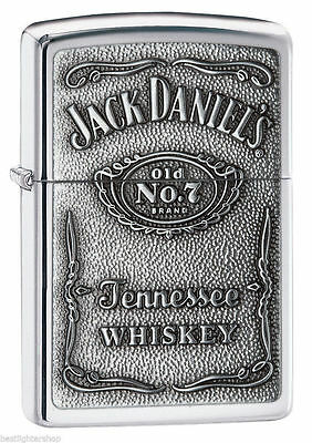 "Zippo ""Jack Daniel's"" High Polish Chrome Finish Emblem Lighter, 250JD-427"
