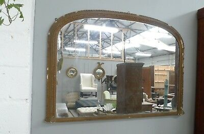 Large Victorian Gilt Overmantle Mirror in Distressed Finish