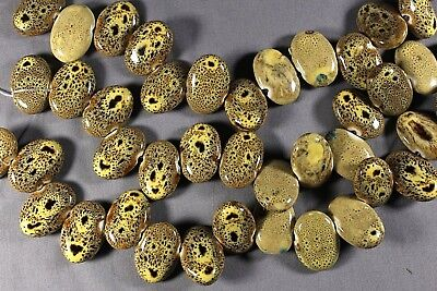 "Handmade Leopard Print Gold & Brown Ceramic 20X28Mm Oval Beads 14.5"" Str"